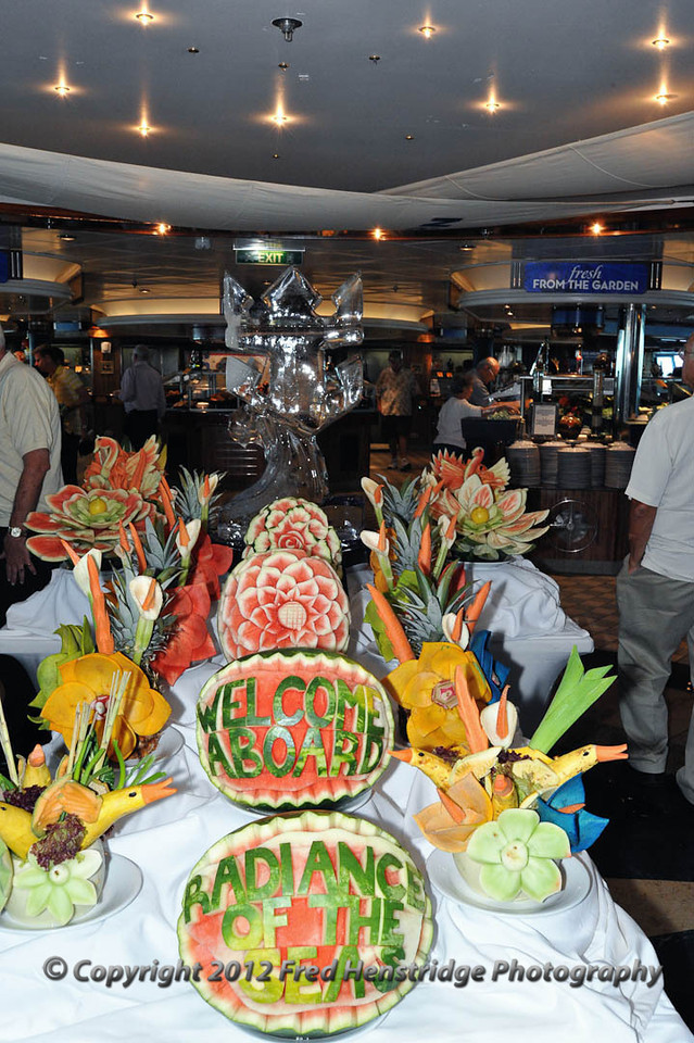 Carved fruit welcomes you to the Windjammer