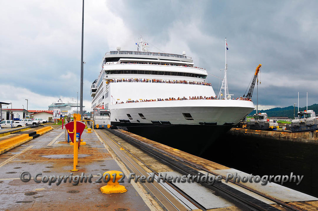 The Ryndam entering the Gatun Lock where it will be lowered 56 feet to the level of the Caribbean