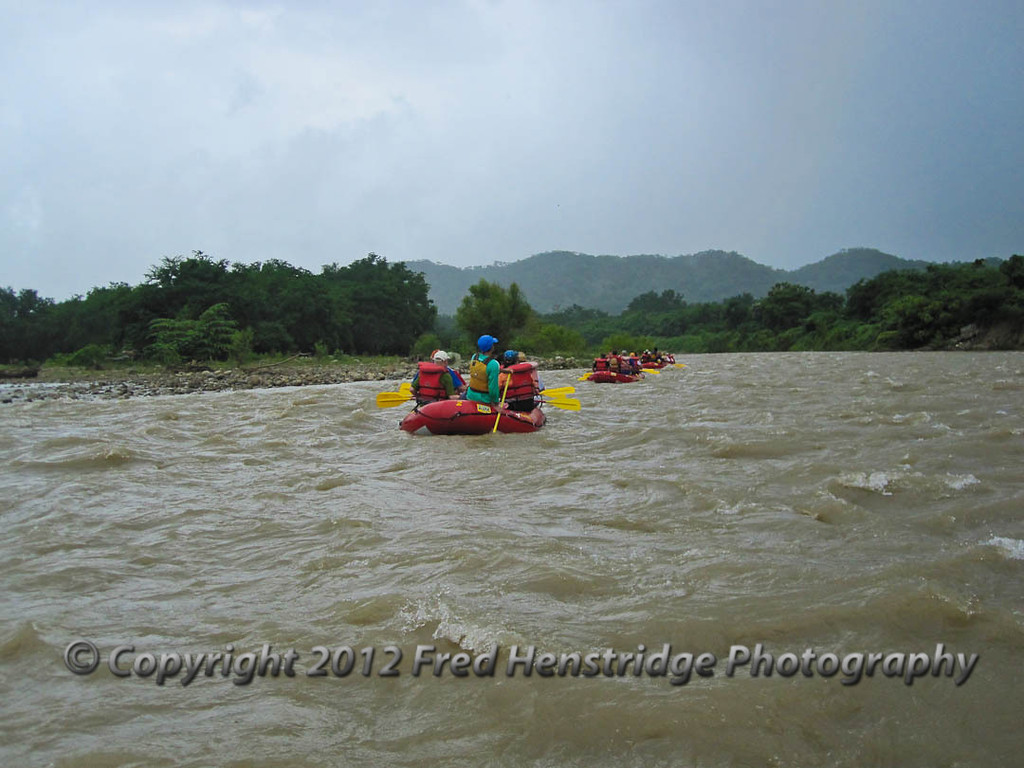 Cruising down the Copalita River. The river is much higher and faster than normal due to the rains