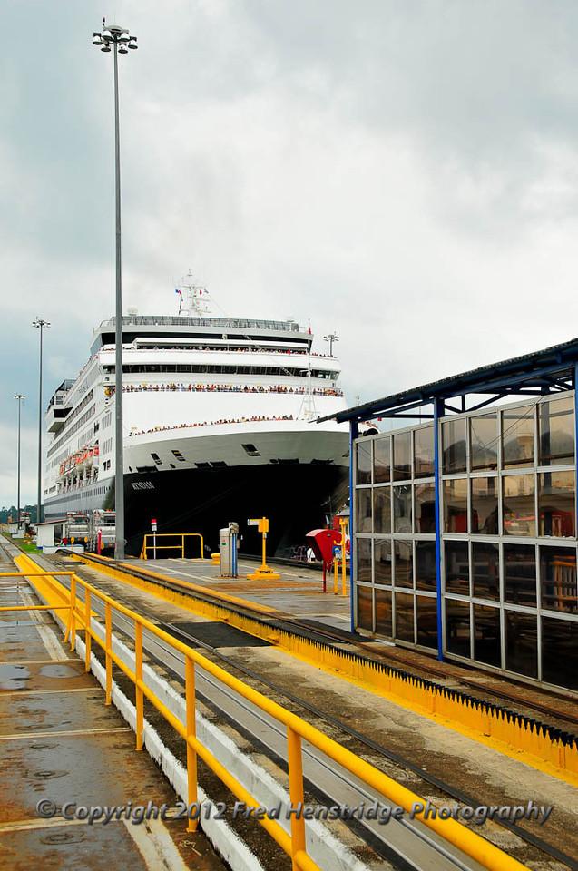 The Ryndam entering the Gatun Lock on its way to the Caribbean