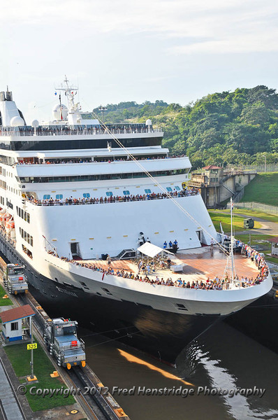Holland America cruise ship entering the Miraflores locks at a fee of $197,000