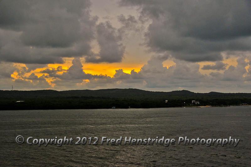 Sunset over the Columbian coast