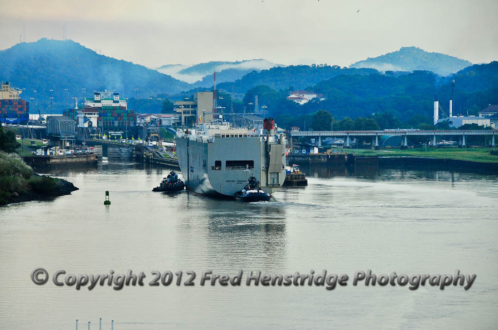 Car carrier approaching the Miraflores Locks. The fee for this ship is $200,000