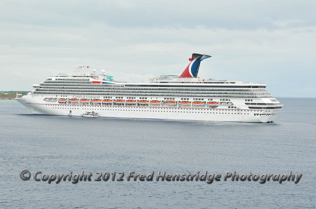 The Carnival Conquest at anchor