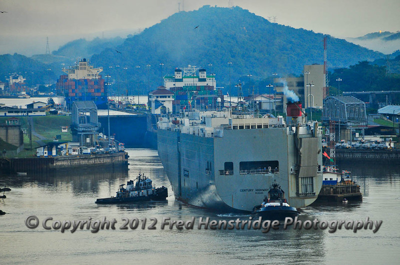 The car carrier entering the Miraflores Locks. These ships are light and ride high in the water causing them roll.