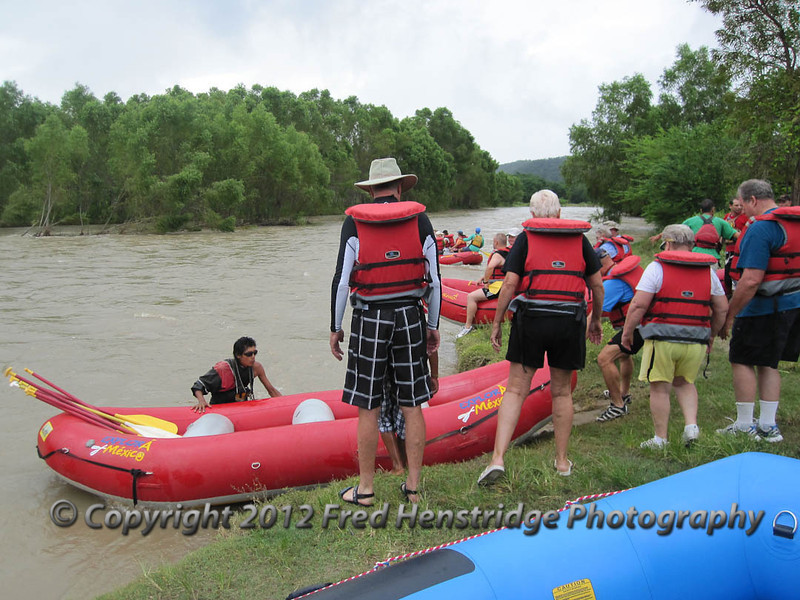 Boarding the rafts on the banks of the Copalita River