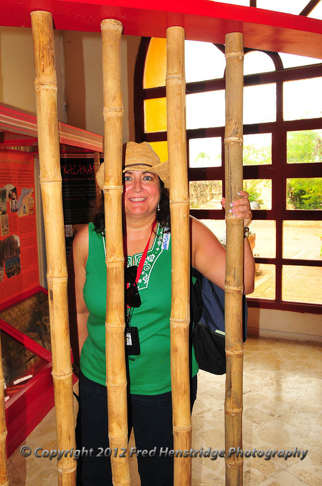Gwen in the bamboo jail