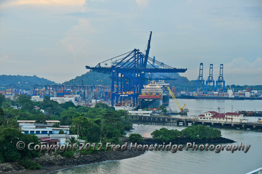 Docks and cranes southeasterly of the Miraflores Locks
