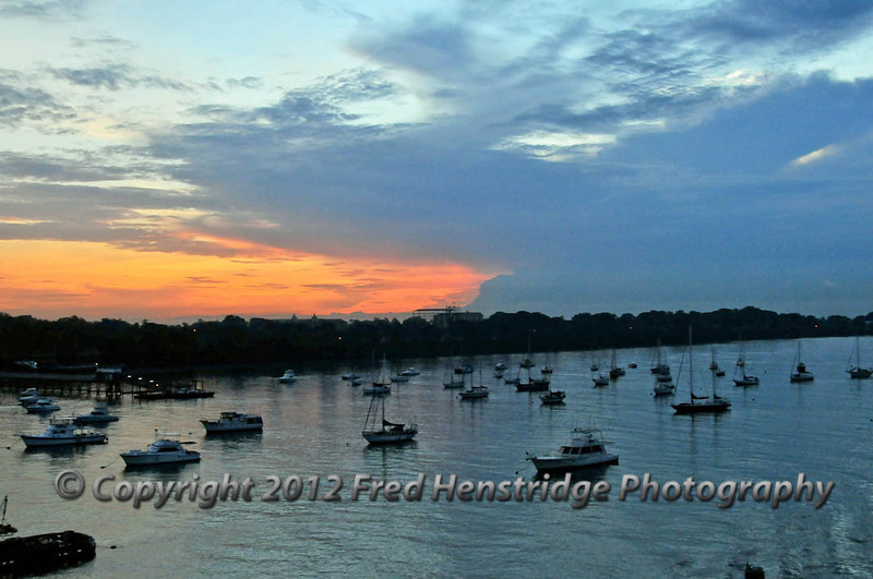 Sunrise at Panama Bay, the Pacific entrance to the Canal at Balboa