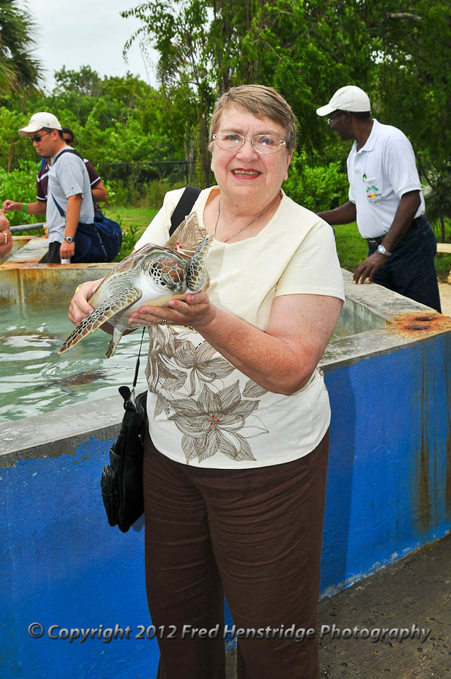 Kathy with the turtle