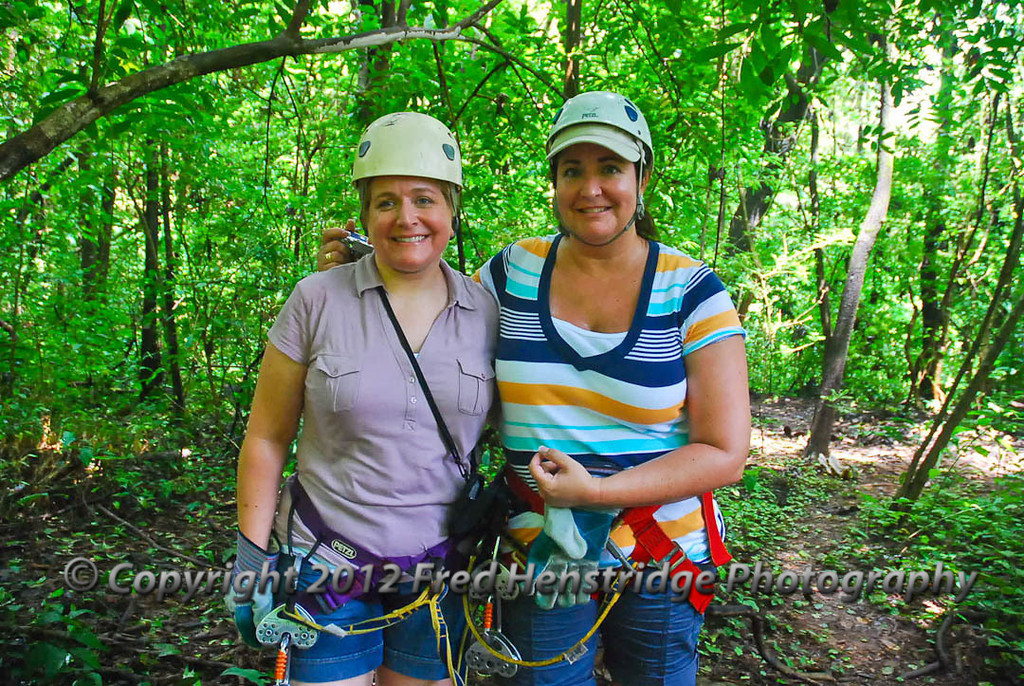 Gwen and Lisa ready to Zip Line over the rain forest