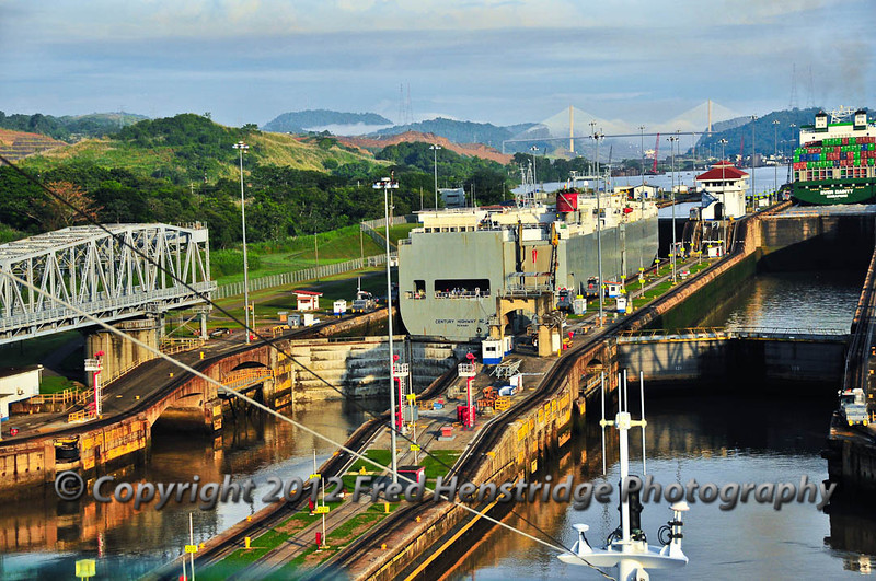 The car carrier being lifted the first 27 feet in the Miraflores locks