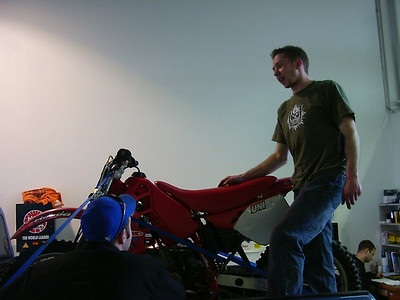 Brant trying to get his bike ready