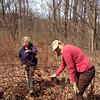 Keggy and Vicki battle the wineberry at Montpelier 4/8/14.