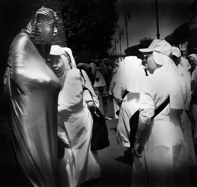 """NUNS INSPECTING """"LIVE"""" SPHINX, ROME."""