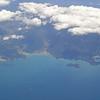 Het Abel Tasman NP op het Zuider Eiland, waar we later nog zouden komen,  vanuit de lucht gezien.