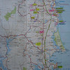 De Sunshine Coast. Buderim ligt ter hoogte van Maroochydore.<br /> Brisbane ligt onderaan op de kaart aan de kust.