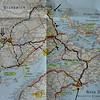 New Brunswick. De zwarte lijnen zijn de trips die we gemaakt hebben vanuit Mactaquac.<br /> De pijlen markeren de belangrijkste plaatsen die we aandeden.