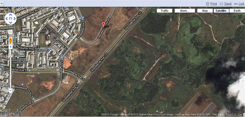 Approximate location of crash site based on the press release from Singapore's Ministry of Defence. The site is to the left of Point A on the image. The forested area to the right of Woodlands Ave 12 is Sembawang Airbase.
