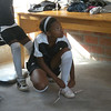 A young RV United player getting ready for one of the team's first 5-a-side matches at the Khayelitsha Football For Hope Centre, March 2012
