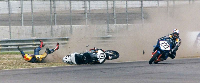 """""""Wipeout"""" This was taken at the first ever AMA Superbike race @ California Speedway in Fontana. This picture is also published in Popular Photography & Imaging Magazine October 2003 edition."""