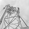 Dover Heights Field Station.  Construction in early 1949 of the 9-Yagi 100 MHz antenna. This shows installation of part of the gearing mechanism which allowed the antenna to be fully steerable;  this feature allowed an all-sky galactic survey to be completed by Bolton and Westfold.
