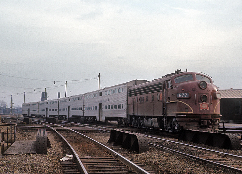 Rock Island F7A #677 with a commuter train