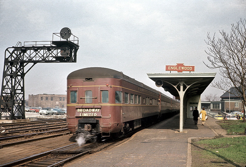 """""""Mountain View"""" Observation Car on the rear of Pennsylvania's Broadway Limited at Englewood Union Station."""