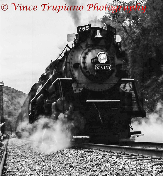 The New River Gorge train in West Virginia.  Nickel Plate Road #765 is a 2-8-4 Berkshire locomotive.
