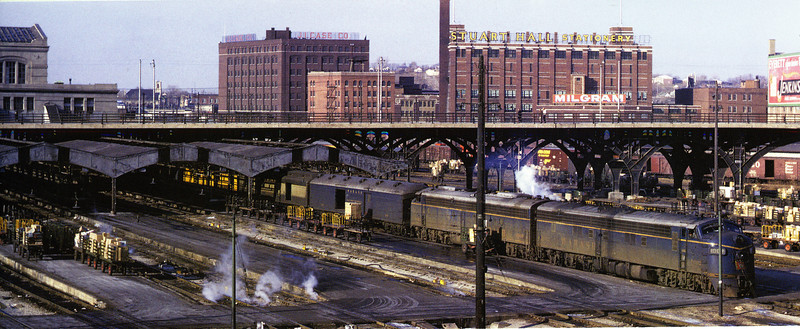 """Wabash E7/E8 duo with the """"City of St. Louis at Kansas City, MO in January, 1965.  Photo by Robert Jensen."""