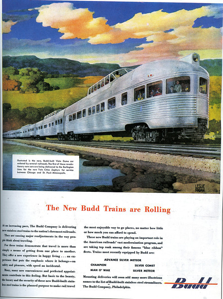 The New Bud Trains Are Rolling:  Budd Company Advertising Piece.