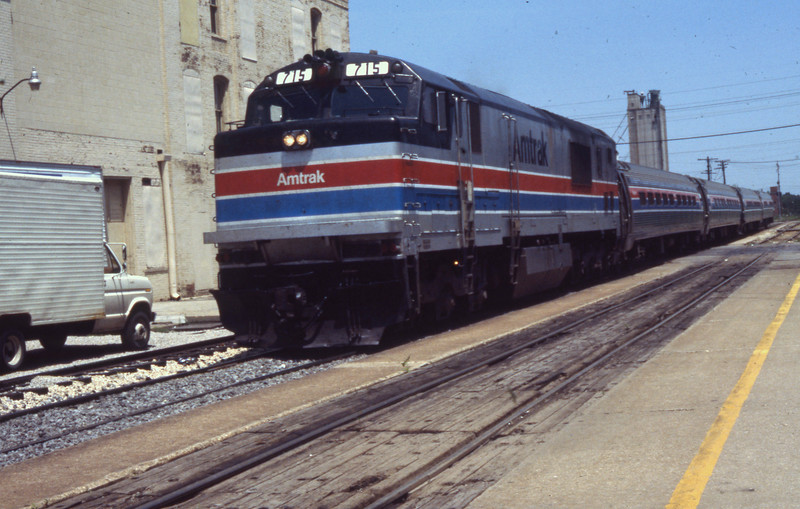 Amtrak P30CH #715 is shown at Springfield, IL.<br /> (Photo by William A. Shaffer)