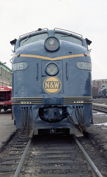 The date is May 11, 1968 and N&W #3815 has been reworked and repainted, ready to resume passenger duties.  For quite some time, the locomotive was seen in the scrap line in Decatur, IL, along with sister E-8 #3808.  <br /> (Photo by William A. Shaffer)
