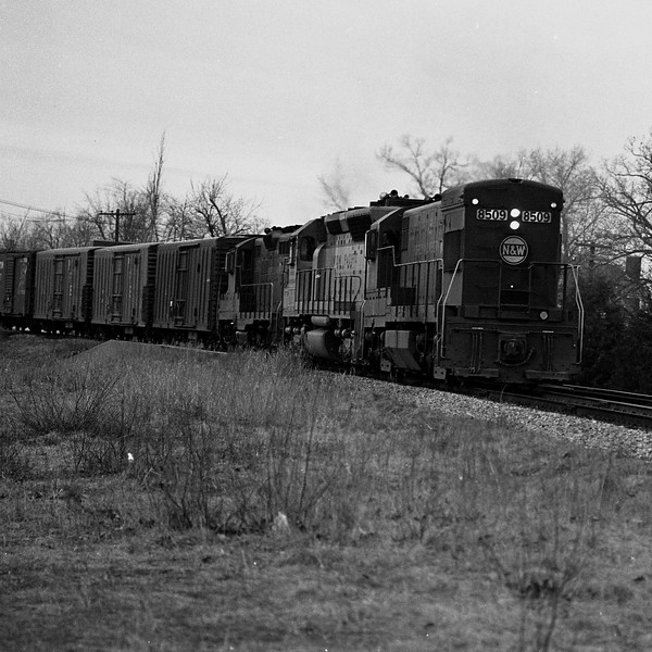 N&W #8509 is shown passing the campus of Millikin University in Decatur, IL.<br /> (Photo by William A. Shaffer)