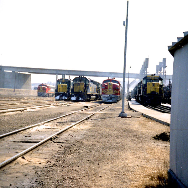 Road Power Line-Up at Santa Fe's Argentine Yard (1968)<br /> (Photo by William A. Shaffer)