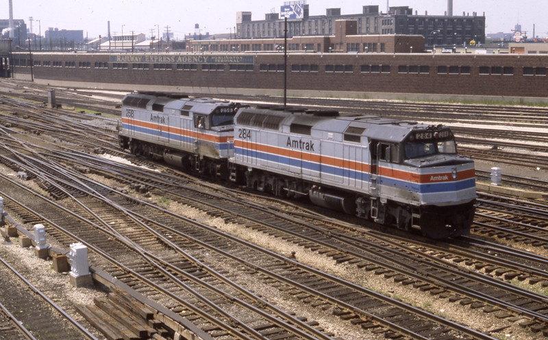 A pair of Amtrak F40s are shown in the Chicago Yards.<br /> (Photo by William A. Shaffer)