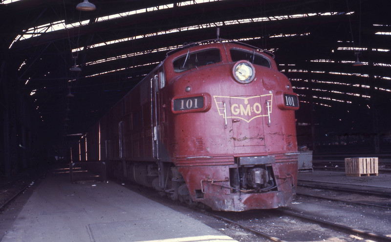 GM&O #101 is an EMD E7A Locomotive, shown at St. Louis Union Station.<br /> (Photo by William A. Shaffer)