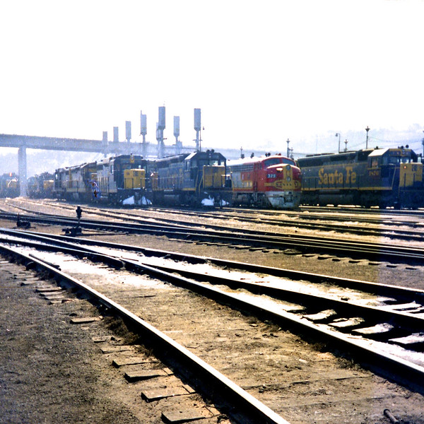 Locomotives lined up at Argentine Yard (1968)<br /> (Photo by William A. Shaffer)