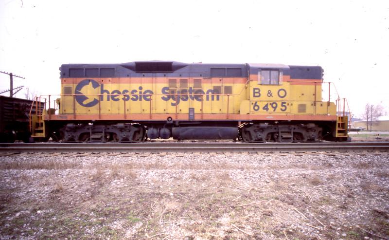 B&O GP #6495 at E. St. Louis, IL.<br /> (Photo by William A. Shaffer)