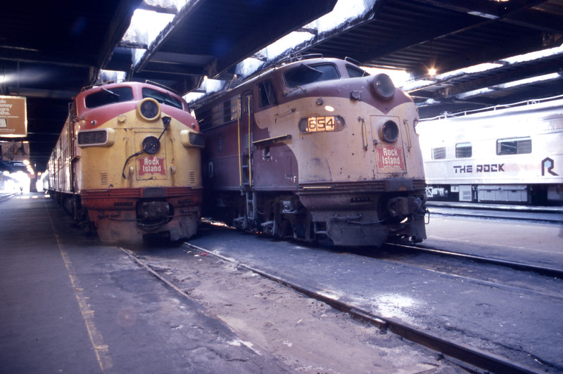 Rock Island #642 & #654 are at rest inside of LaSalle Street Station.<br /> (Photo by William A. Shaffer)
