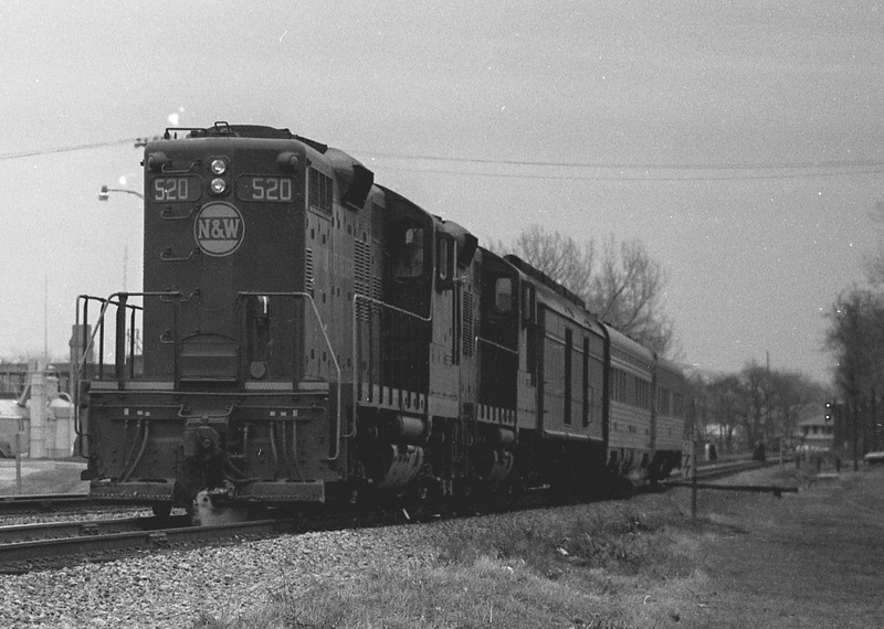 """N&W #520 is shown with the southbound """"Wabash Cannon Ball"""" as it approaches the campus of Millikin University.<br /> (Photo by William A. Shaffer)"""