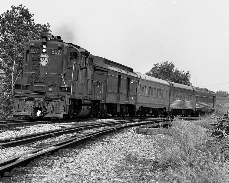 """N&W #508 has the southbound """"Wabash Cannon Ball"""" in tow as it passes Millikin University.<br /> (Photo by William A. Shaffer)"""