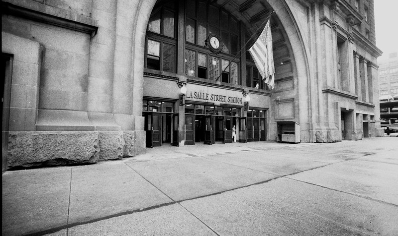 LaSalle Street Station in Chicago, IL.  The current LaSalle Station (pictured here) was built in 1981 and replaced a previous structure on this site of the same name.  LaSalle Station was home to intercity passenger trains operated by the New York Central, Rock Island Lines, Nickel Plate Road, and Chicago & Eastern Illinois Railroad.<br /> (Photo by William A. Shaffer)