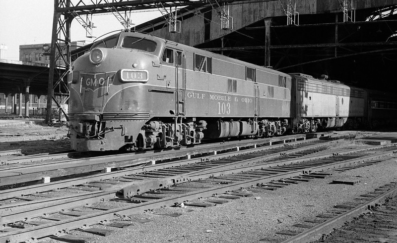 GM&O #103, an EMD E7A Locomotive, is shown<br />  at St. Louis Union Station<br /> (Photo by William A. Shaffer)