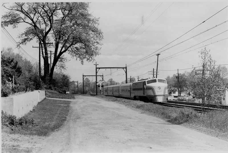 ACF Talgo Train, testing on the Delaware, Lackawanna & Western Railway in 1949.<br /> The Talgo Train was built by American Car & Foundry Company at their Berwick Plant for the Spanish Government.<br /> (Photographer Unknown:  Collection of James V. Prater)