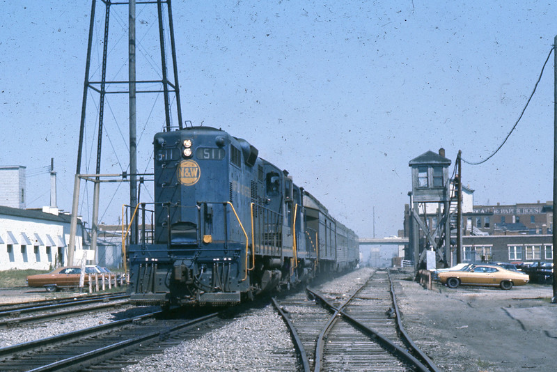 """I have positioned myself midway between the depot and the University.  This is where my final shots will be taken.  N&W #511 eases the """"Cannon Ball"""" out of the depot and down the main line.  Destiny awaits!<br /> (Photo by William A. Shaffer)"""