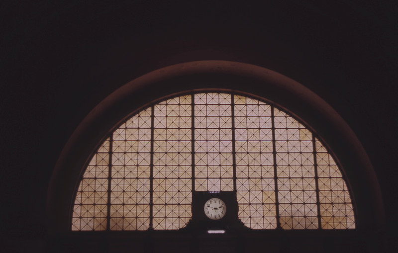 Stained Glass Window and Clock in the Grand Hall of St. Louis Union Station (circa 1973)<br /> (Photo by William A. Shaffer)