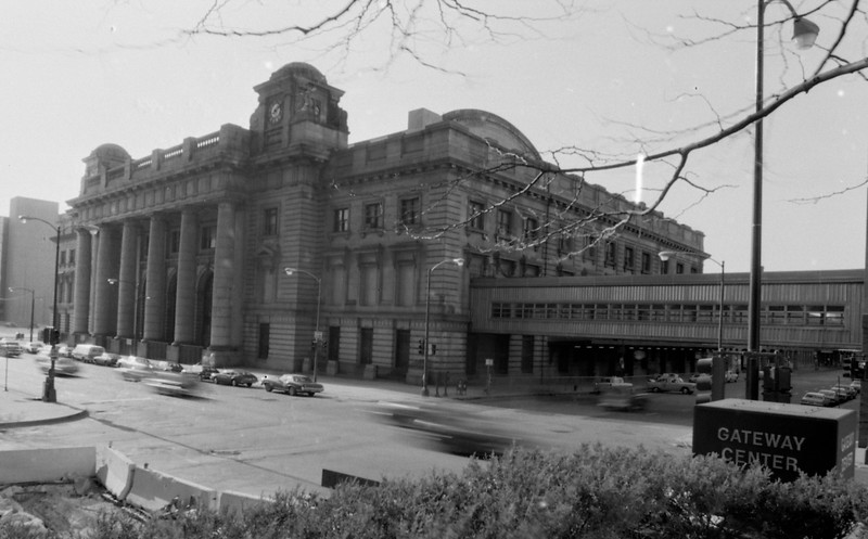 Northwestern Station - Chicago, IL  (circa 1983). The Chicago & Northwestern Railway opened Northwestern Station in 1911,  The depot was built in the Renaissance Revival Style by Foster & Granger, the same architects who built the previous LaSalle Street Station in 1903.  This building was replaced in 1984 with a new structure known as the Ogilvie Transportation Center.<br /> (Photo by William A. Shaffer)