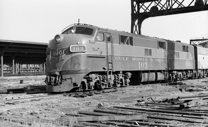 GM&O #103, an EMD E7A Locomotive, is shown at St. Louis Union Station.<br /> (Photo by William A. Shaffer)