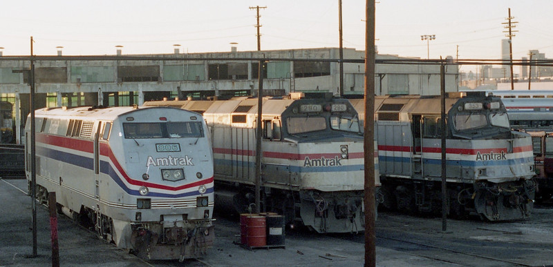 Amtrak P40 #806 is shown with Amtrak F40s #290 and #353 at the Roundhouse at 8th Street in Los Angeles, CA.<br /> (Photo by William A. Shaffer)